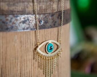 Big open Eye Pendant, Long Gold Necklace, Long silver Chain, Eye Necklace. Charm necklace, SILVER Chain, Modern Boho Necklace.
