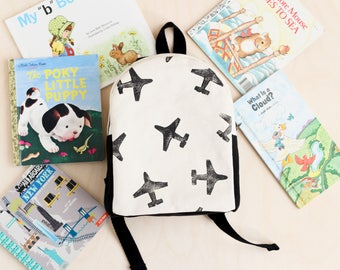 Toddler Backpack, Hand Stamped, Airplane, Monochrome, Kids Backpack