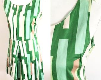 Green geometric dress