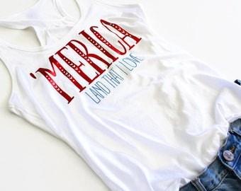 July 4th Tank. Land That I Love Tank. Merica Tank. 4th of July Shirt. Patriotic Tank Top. Red White Blue. Stars Stripes. God Bless America
