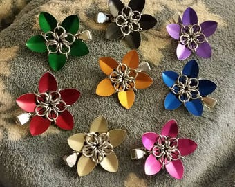 Scale chainmaille hair flower