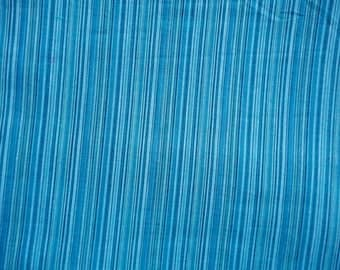 Blue Striped Handloom Woven Cotton Light Weight SheerCotton Voile Fabric Sold by Yard