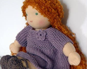 Waldorf doll 30 cm hand made in France with organic cotton