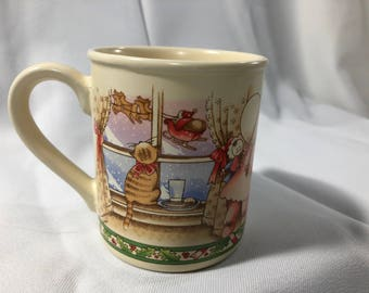 Country Kids CHRISTMAS IS LOVE Vintage Coffee Mug Watkins Incorporated 1990 Holiday Children Cats Fireplace