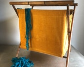 vintage knitting sewing basket caddy folding standing harvest gold corduroy retro