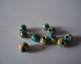 Set of 10 turquoise cloisonne beads 6mm