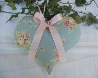 Nice door cushion fabric with small roses shabby heart