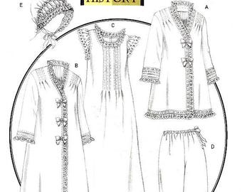 Bed Jacket or Robe Nightgown Historical Costume Butterick B5061 Sewing Pattern Pants or Pantaloons Nightcap or Hat Size Xsm S M Uncut