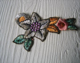 One Antique Embroidered Applique with Metallic Thread Accents (Ref: A-4035/5 Box 7)