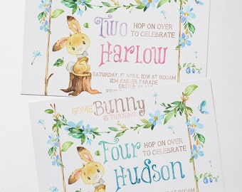 Digital Invitation | Easter Bunny Birthday | Custom | Personalised | Birthday Invitation