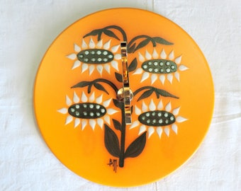 Vintage cake stand, retro signed BM, ceramic plate with sunflowers and gold tone handle, vintage french home decor, retro dining
