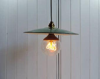 A Vintage french, green metal industrial ceiling or pendant light