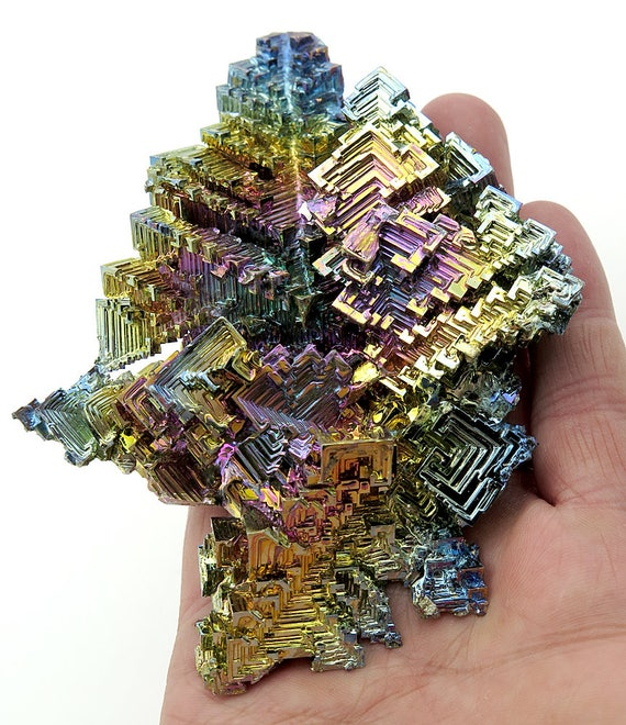 Extra Large Lab Grown Bismuth, Germany. 5 by 3.75 inches. 12 ounces. A solid piece