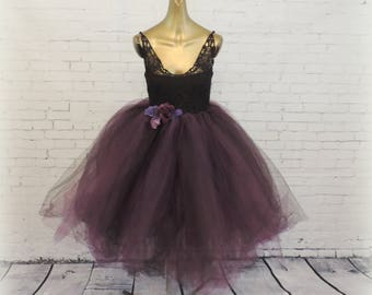 Adult tutu dress haloween costume witch tutu dress black and plum dress tea length tutu dress halloween costume for women tutuhot