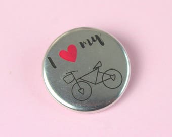 I Love My Bike Metallic Badge, Silver Bicycle Badge, Bicycle Pin, Bicycle Brooch, Bicycle Button