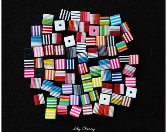 Mix of 10 striped square beads 8x8mm