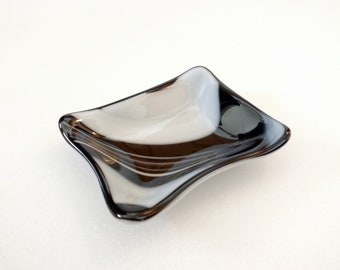 Fused Glass Trinket Dish, Black and White, Tea Bag Rest, Spoon Rest, Ring Dish, Jewelry Dish, Sauce Dish, Soap Dish, Bathroom Decor