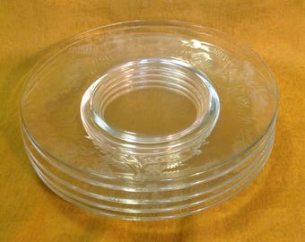 """Set of 5 clear etched glass plates 8"""" luncheon salad dessert floral bridal wedding entertaining brunch romantic prairie cottage chic dining"""