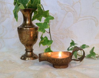 Etched brass votive candle holder and vase candleholder Asian Indian boho chic bohemian hippie home decor