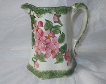 "5"" Cash Family Hand-Painted Ewer Vase, Green Sponge Trim, Pink Flowers (c. 1960s)"