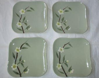 Set of 4 Weil California Pottery MALAY BLOSSOM CELADON Green Bread & Butter Plates (c. 1940s)