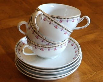 H&C Heinrich Bavarian China Pattern 9703 Set of Four Teacups and Four Saucers