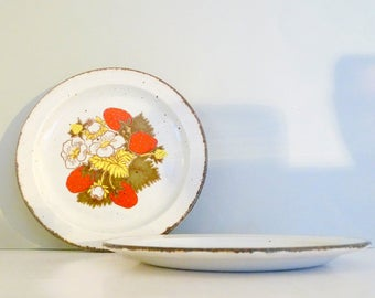 Vintage Strawberry Midwinter Stonehenge Lunch Plates Set of three