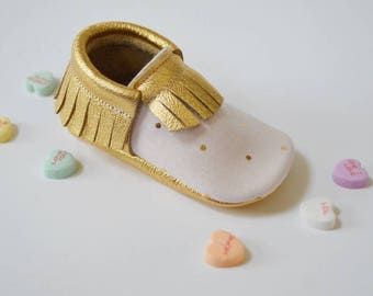 Gold and blush moccasins