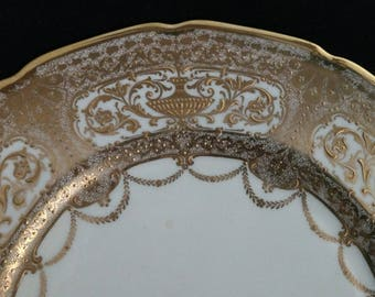 Pair of White and Gold Royal Doulton Decorative Plates with Raised Gold & Beaded Gold Design
