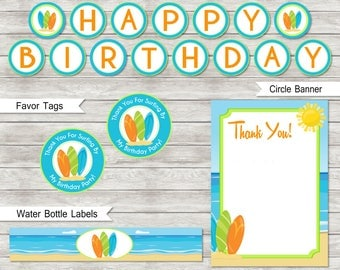 Surf Birthday Party Package (Free Thank You Card) - Instant Download - Digital Files
