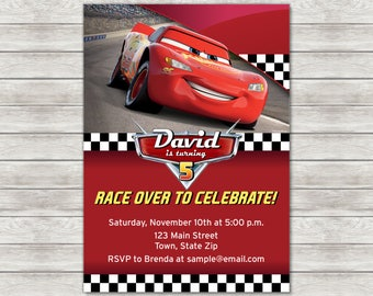 Disney Cars Birthday Invitation, Lightning McQueen - Digital File (Printing Services Available)