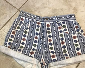 Vintage 90's Sun Print High Waisted Denim Shorts 11 high waist high rise hi rise