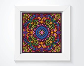 Mandala Cross Stitch Pattern PDF, Medley Cross Stitch Chart, Art Cross Stitch, Embroidery Chart (ART035)