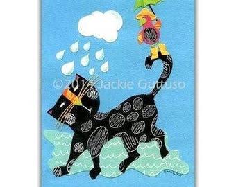 "Cat collage, 5 x 7"" Giclee print, Cat art, Whimsical cat and bird painting print, Cat lover gift, Black cat print, Rainy day art, Cat decor"