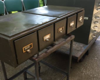 Industrial Metal Cabinet, green, Craft Storage, Storage drawers,5 drawers, Army Green, Card Catalogue