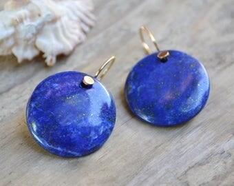 lapis lazuli gold earrings  /// blue lapis lazuli gemstone round earrings /// everyday colorful jewelry