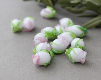 Glass Flower Buds Beads, Set of 7 pc Lampwork White Flower Beads, Glass Flower Beads, Flower Beads, Lampwork Beads, Glass Beads