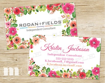 Rodan and Fields Business Cards, Rodan + Fields Small Business Branding Marketing, Modern Floral, Rodan Fields Card Personalized, PRINTABLE