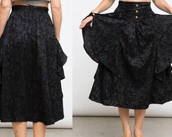 Black Midi Skirt, Vintage Black Skirt, Medium Black Skirt, High Waist Skirt, Grunge 90s Skirt, Gothic Skirt, Steampunk Skirt, Shiny Skirt