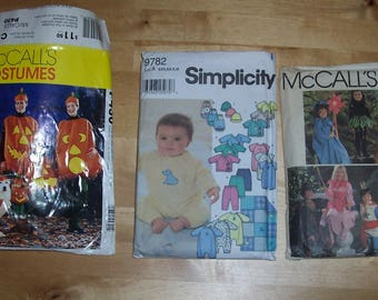 McCall's Sewing Pattern 8787 McCall's 430 Simplicity 9782 - Baby Toddler Clothing Pattern - Pumpkin Costume Pattern - LOT of 3