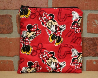 One Sandwich Bag, Reusable Lunch Bags, Flannel, Waste-Free Lunch, Machine Washable, Minnie Mouse, Sandwich Sacks, item #SS76