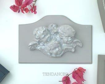 Plaque en bois d' ornement d' anges 23,5 x 12 cm