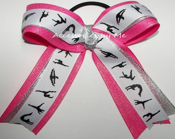 Gymnastics Bow, Sparkly Pink Glitter Ribbons, Hot Pink Silver Metallic Gymnastic Bows, Cheer Dance Lyrical Gym Discount Bulk Wholesale Price