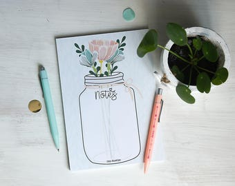 Bloc-Notes Mason jar Fleurs Papeterie