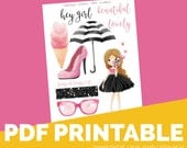 Hey Girl Printable Bible Journaling, Margin Stickers, Bookmarks, Sticker Printable