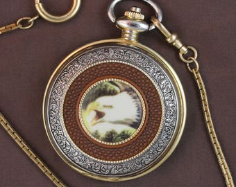 Franklin Mint Precision Pocket Watch • Bald Eagle by artist, Ted Blaylock • 12K Gold Fill Fob • Free Shipping! • Working and Ready for Use