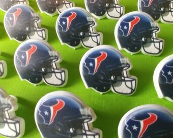24 HOUSTON TEXANS NFL helmet cupcake rings picks cake toppers football fan birthday tailgate party, fall sports super bowl team bachelor
