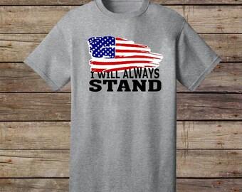 Stand for the Flag Kneel for the Cross Shirt, Patriotic Shirt, Religious Shirt, Women's Christian Shirt, US Flag Shirt, Proud American Shirt