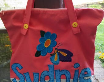 Small Personalized Kids Tote Bag, Zippered Tote Bag, Canvas Tote Bag, Lined Tote Bag, Butterfly Tote Bag for Girls, Preschool Tote for Girls