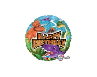 Dinosaur Happy Birthday Holographic Foil Balloon, Mylar Balloons, 18 Inch, Hanging Decorations, Party Supplies